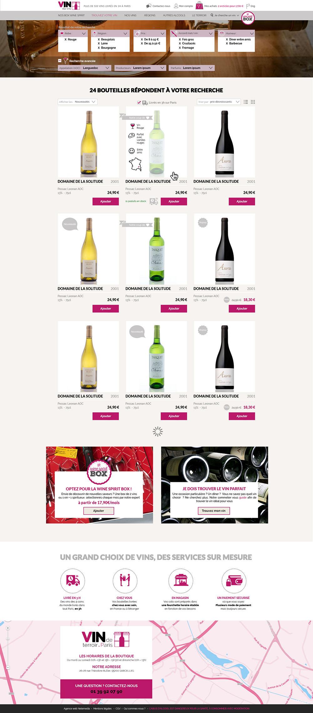 page résultat de recherche vins de cru